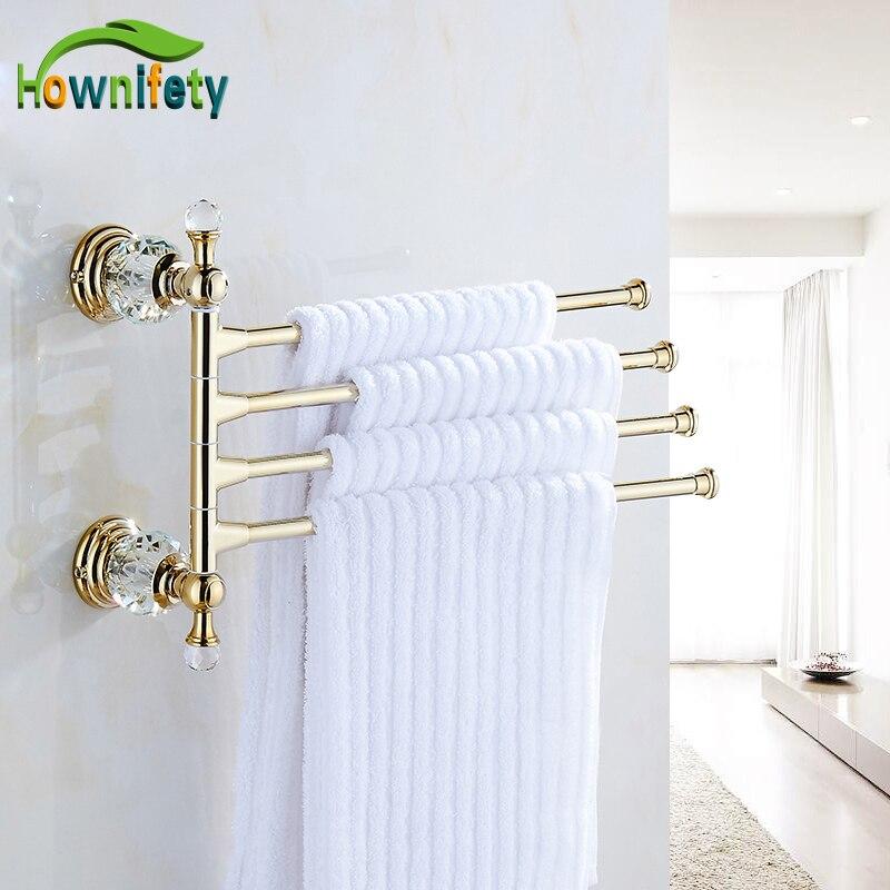 Solid brass gold bathroom 4 towel bars soild brass towel - Solid brass bathroom accessories ...