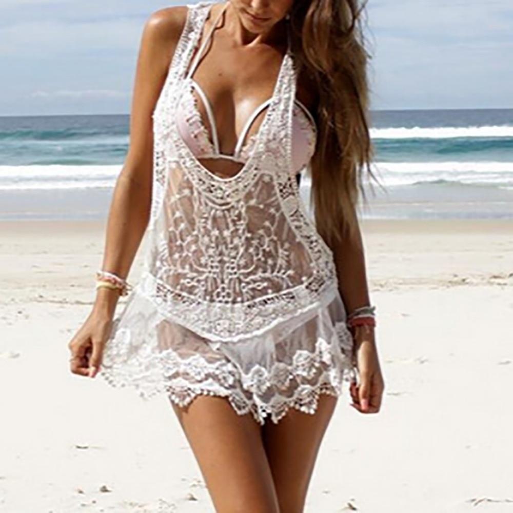 2017 Novo poletne obleke Ženske Beach Dress Sexy pas Sheer-9472