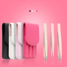 3 Pcs/set Multicolor Eyebrow Tweezers Stainless Steel Point Tip/Slant Tip/Flat Tip Hair Removal Makeup Tool Kit with Bag case