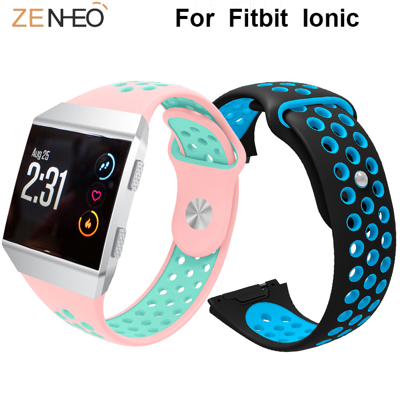 Double colors Silicone watch band For Fitbit Ionic watches Strap Men Women 39 s watchband for Fitbit ionic Bracelet Sport Wristband in Watchbands from Watches