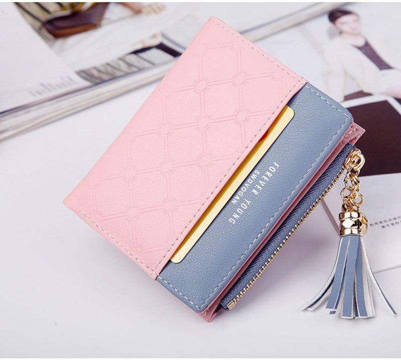 Leather Small Wallet Women Mini Women Wallets Purses Female Short Coin Zipper Purse Holder Tassel Zipper Button Bag (19)