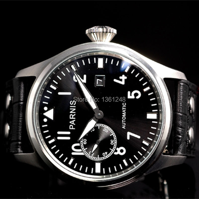 47mm parnis black dial date adjust ST 2555 Folding clasp movement automatic mens watch P97 цена и фото