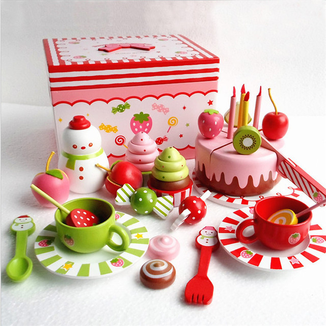 Baby Wooden Toys Japanese Miniature Food Strawberry Birthday Cake