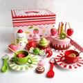 Brinquedos de madeira do bebê Japonês comida em miniatura de morango bolo de aniversário brinquedos para presente das crianças