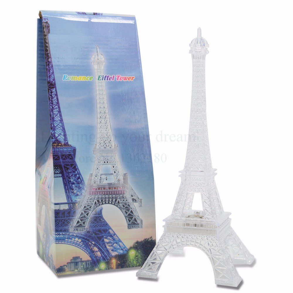 10 Inch Romantic LED Light Up Eiffel Tower NightLight switch ...