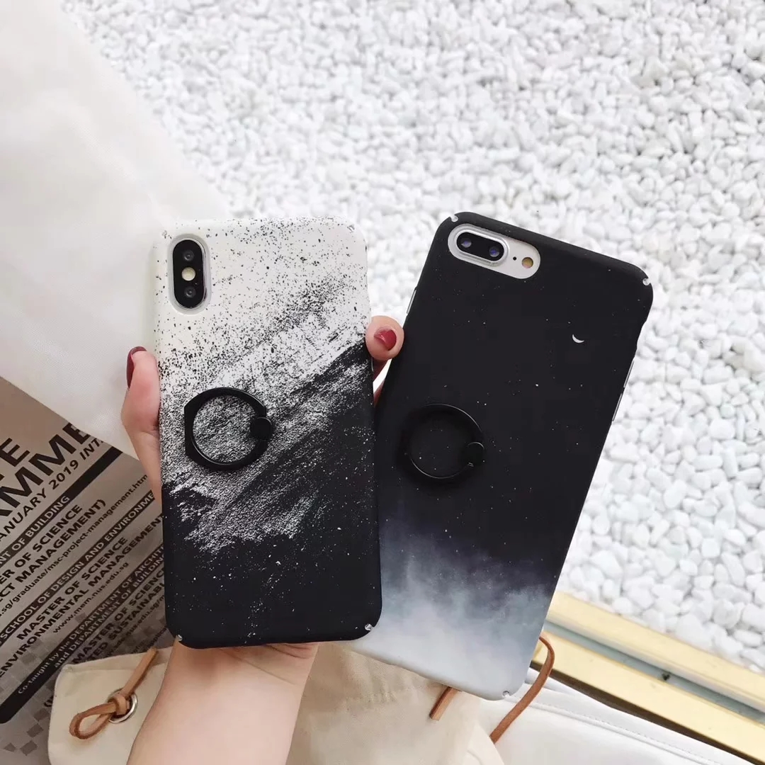 4240b7a95eb74d universe Planet Milky Way Phone Case For iPhone 6S 6 7 8 Plus X XS MAX XR  Scrub Starry Hard PC With Finger Ring Back Cover Coque