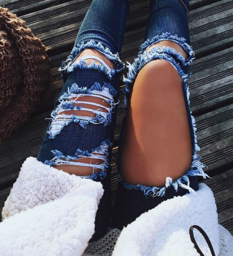 Sexy Women fashion Denim Skinny Pants High Waist Stretch ripped Jeans big holes Slim Pencil Trousers