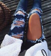Пикантные Модные женские джинсовые узкие брюки Высокая талия стрейч рваные джинсы большие отверстия Тонкий узкие брюки