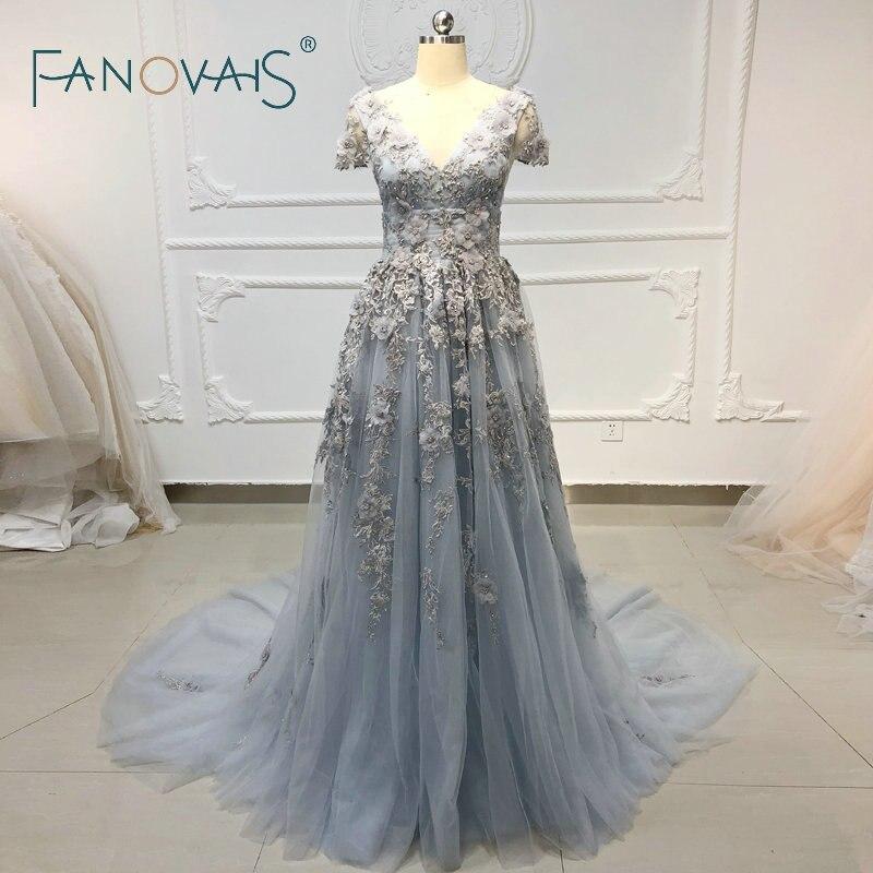 Luxury   Evening     Dresses   with Flowers Vestido De Fiesta Light Blue Prom   Dress   Women   Dress   Long Elegant Robe De Mariee