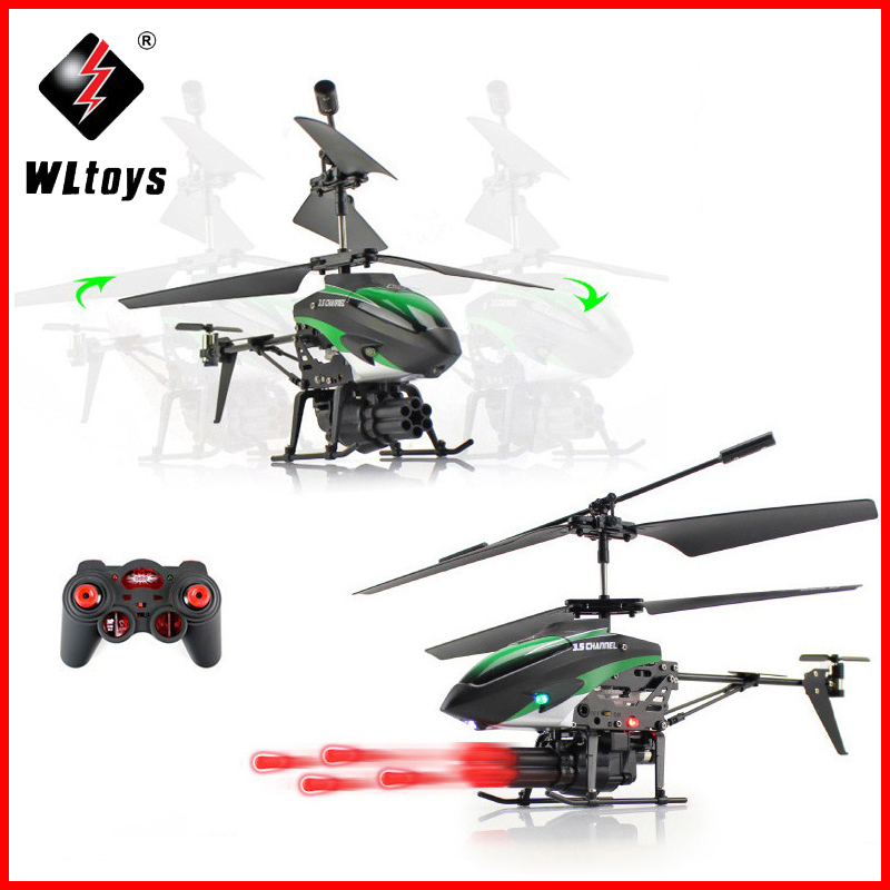 WLToys V398 Missile Launching Built-in Gyro Infrared RC Helicopter 3.5 Channel Remote Control Helicogyro With Gyro Green Red