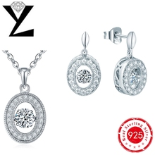 Fashion Jewelry Set Silver Plated with Dancing CZ Diamond Pendant Necklace and Rings Jewelry Set for Women Gift