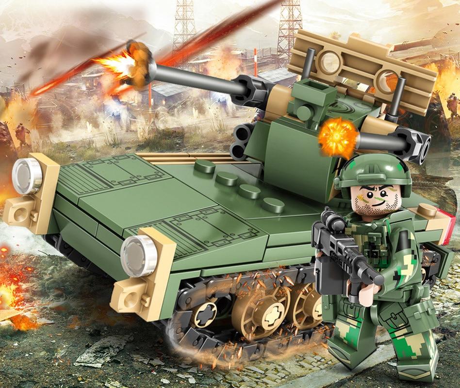 KAZI Military Field Army Building Blocks Toy Bricks Armored Car Tank Heads Playmobil Educational Toys for Children Birthday Gift