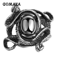 GOMAYA Mens Rings Stainless Steel Black Cubic Zirconia CZ Double Snake Design Antique Jewelry Party Punk Hip hop