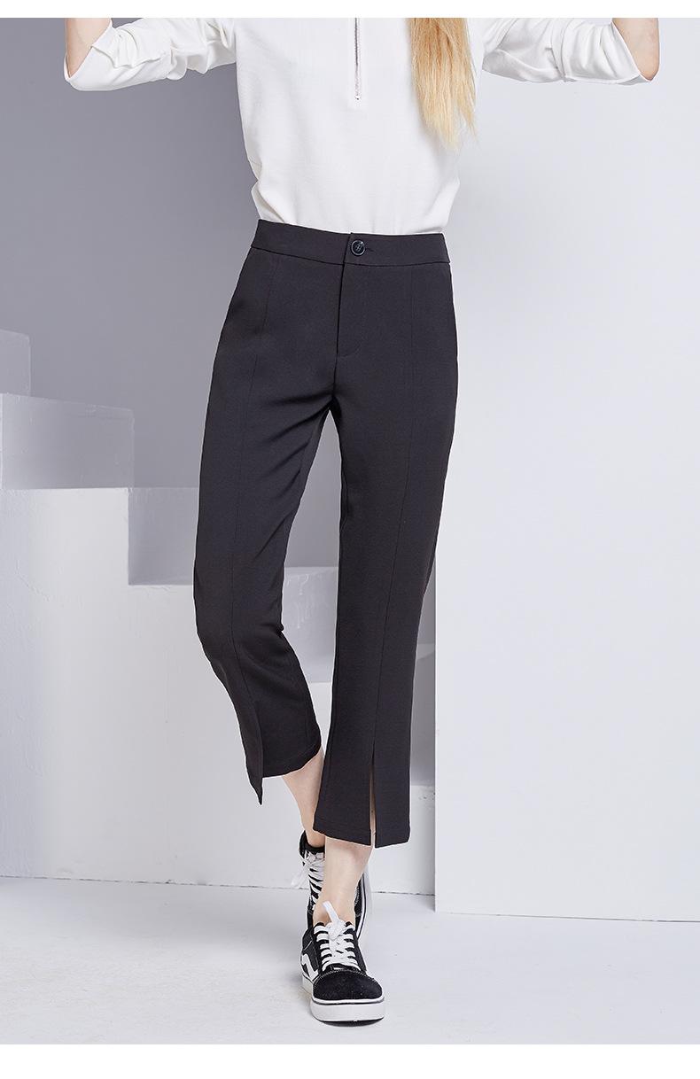 bootyjeans spring 2018 new European high-end women's slim black all-match split ankle length pants casual bottom pants 34
