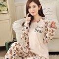 2017 Otoño Para Mujer Pijama O-cuello de Los Animales de Manga Larga Mujer ropa de Dormir Pijamas Niñas Mujer Femme Pijama Pijama Pijamas