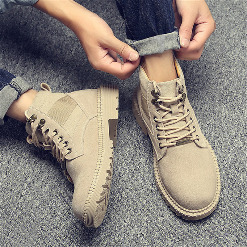 Men Winter Outdoor Travel Military Boots Genuine Leather Casual Shoes Martin Outdoor Sneakers Male Non-slip Sports Desert Boots