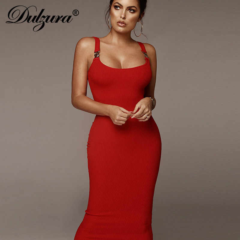 Dulzura 2019 printemps été femmes robe blanc vestidos robe de soirée moulante vêtements élégant pull robe sangle décontracté tricoté