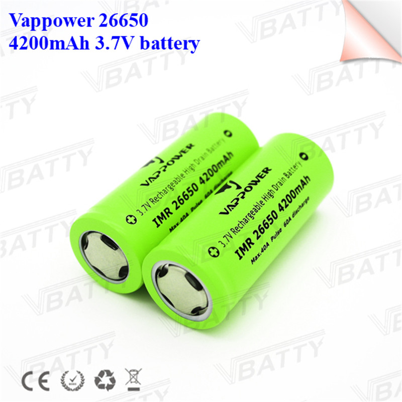 High amp discharge current 26650 3.7V li ion battery original Vappower 26650 4200mAh max 40A pulse 60A(1pc) image