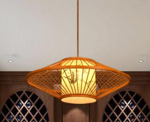 Chinese style Wooden antique parchment restaurant pendant lamp room Restaurant southeast bamboo Retro pendant lights zb31