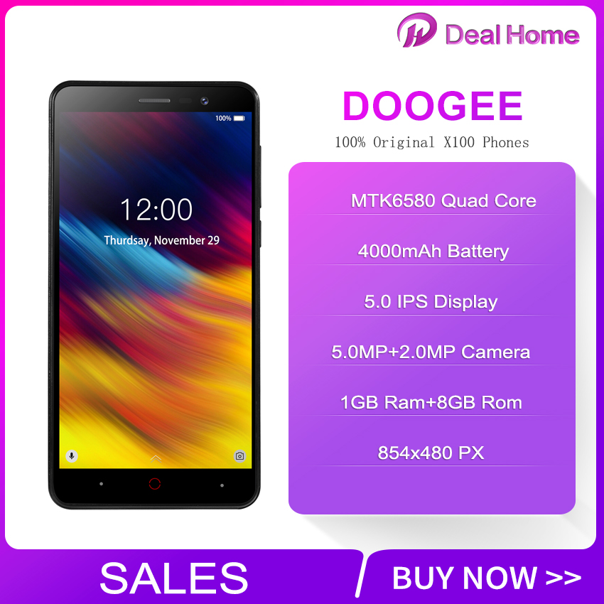 Original Doogee X100 5.0 inch Android 8.1 Quad Core Smartphone 4000mAh 854x480 Mobile Phone