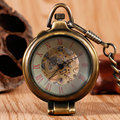 New Arrival Retro Bronze Standing Glass Case Mechanical Pocket Watch with Chain Steampunk Fob Watches for Christmas Gift