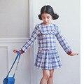 Coreano ropa de niños niñas faldas set 2017 nueva primavera otoño adolescentes niñas sistemas de la ropa ropa de manga larga a cuadros azul