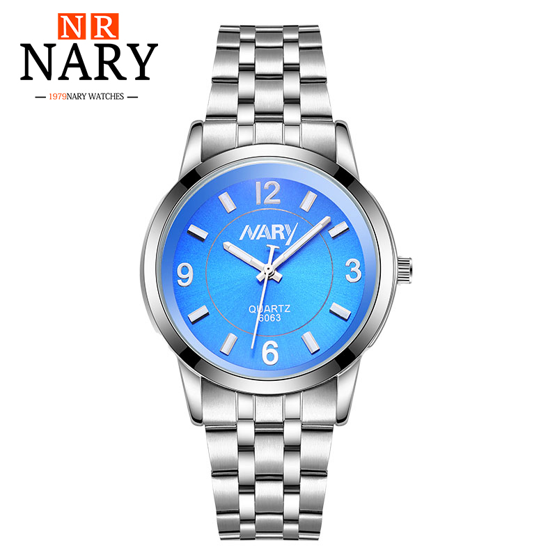NARY Quartz Watch Women's Watches Stainless Steel Luxury Fashion Business Clock Ladies Girls dress Wristwatches Relogio Feminino chenxi fashion luxury quartz watch women dress stainless steel strap waterproof business casual ladies watches relogio feminino
