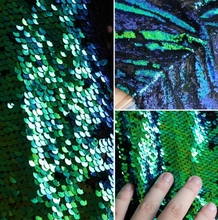 Green Encrypted double-sided color laser polyester fabric discolored fish scale sequins turning textiles Stage C631