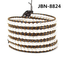 New vintage style mutilayer leather bead mens jewelry natural pearl  beads handmade leather 5X  bead bracelet for women JBN-8824