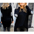Fashion New Women Ladies Casual Long Sleeve Patchwork Crewneck Loose Sexy T Shirt Tops Y1