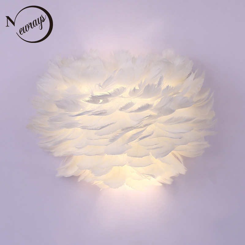 Vintage feather dream romantic wall lamp LED E27 220V wall light with lampshade for living room bedroom hallway study hotel cafe