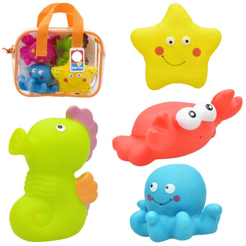 4pcs Baby Toy Big Size Soft Plastic Bath Water Spraying Classic Kids Rattle Early Educational Marine animals/Transport Toys