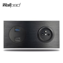 Wallpad L6 Black Aluminum HDMI USB 3.0 Outlet with French Wall Electrical Power Socket Satin Metal 172*86mm