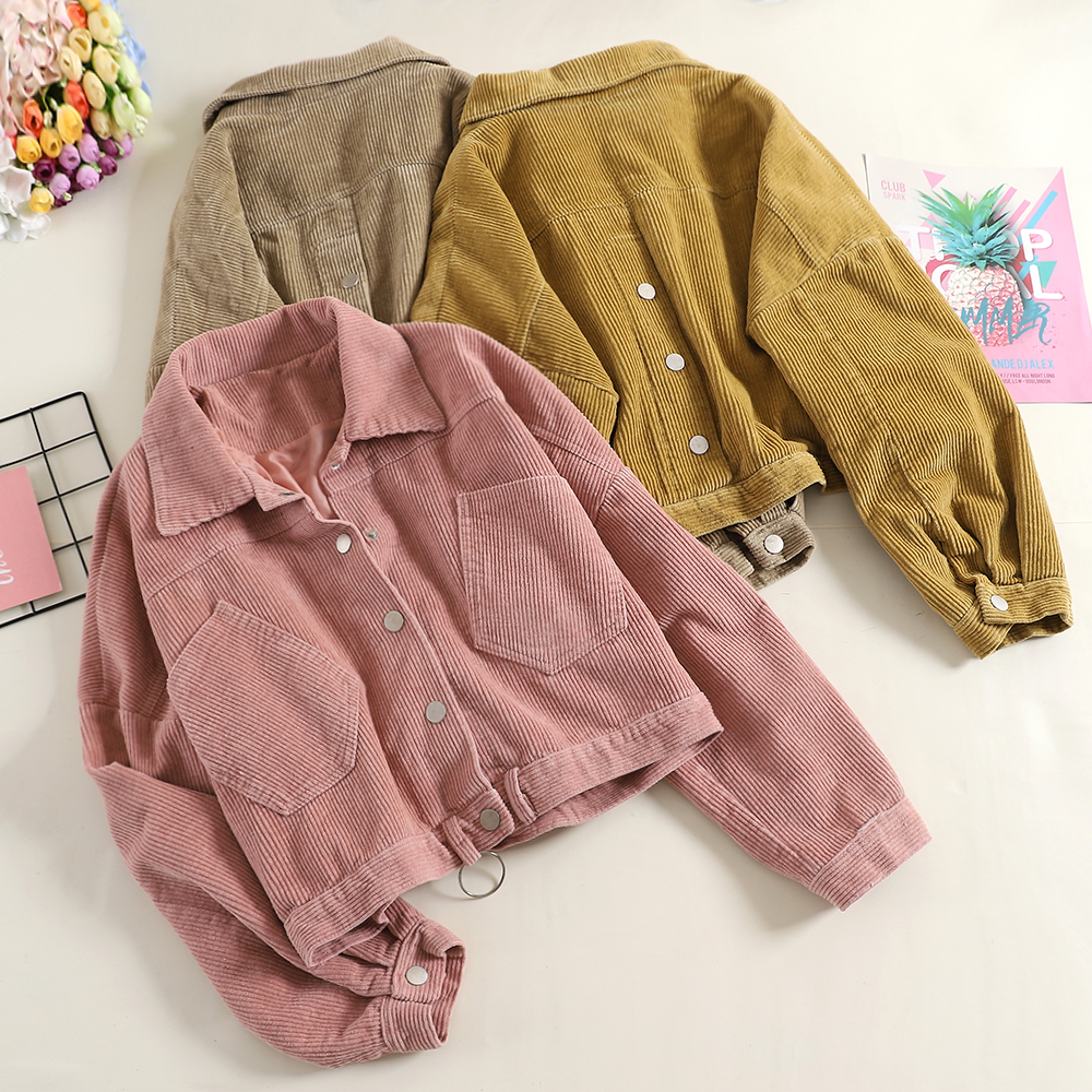 Corduroy Jacket Coat Women Autumn Girls Ladies Harajuku Style Pockets Pink Corduroy Shirts Women Spring Fall Overcoat Tops