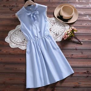 Image 2 - 2019 New Mori Girl Vintage Summer Women Dress Bowknot Sweet Cotton Linen Vestidos De Festa Sleeveless Plaid Robe Femme Sundress