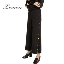 Lemon Black Brief Single Breasted Vintage Women Bottoms Spring Chic Female Wide Leg Pant Side Split Loose Casual Pants