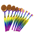 10pcs/set Mermaid colorful toothbrush makeup brush sets new long handle Oval beauty make up tool foundation powder eyeshadow kit