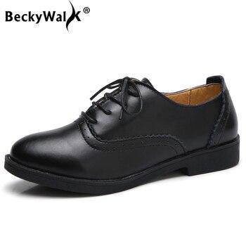 4aa3fdb9fb6a BeckyWalk/Женские туфли для повседневной носки из натуральной кожи женская  весенняя ...