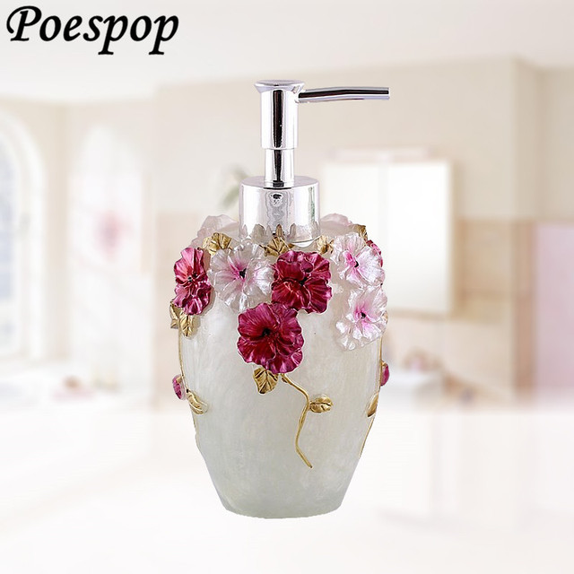 Posepop 300ml Pump Flowers Past Soap Dispenser Resin Bottle Sanitizer For Elegant Bathroom Decoration