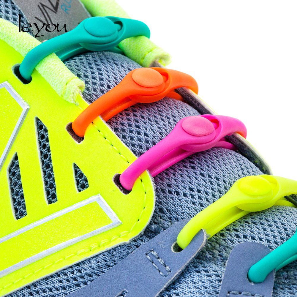 12PCS Lazy No Tie Elastic Silicone Shoe Laces Athletic Running Sport Shoelaces Children and Adult Shoe Strings For NMD Sneakers