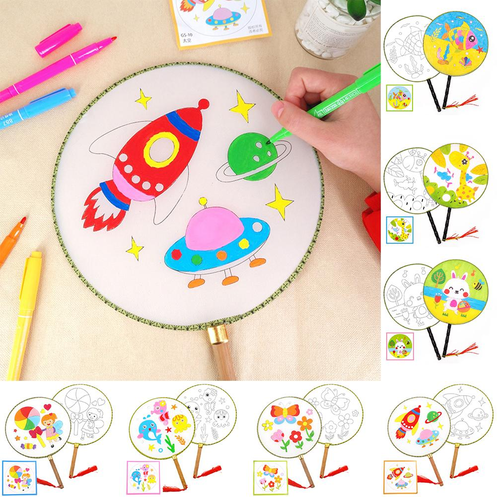 Kids Children DIY Paint No Color Animal Flower Rocket Cool Round Hand Fan Craft Tool