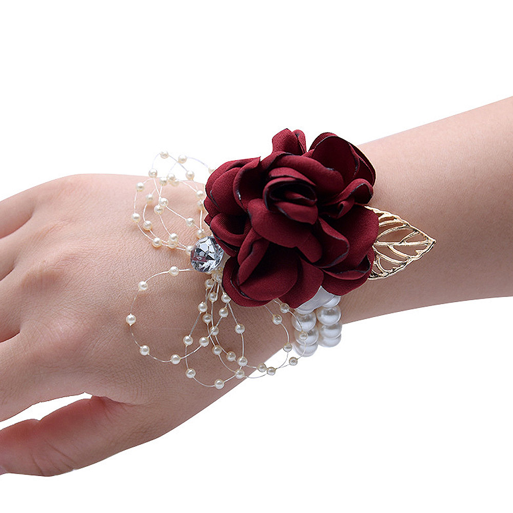 8cm Artificial Rose Wrist Flower Bride Bridesmaid Beaded Rhinestone Wrist Flowers Hand Flowers Decor Bridal Prom Accessories