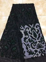 Nice design special 5 yards/pcs embroidered African french lace net tulle fabric with velvet H 1948 with super quality