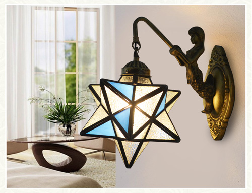 Mediterranean Tiffany Mermaid Glass Sconce Wall Lamps Wall Light Light E27 220V Bedside Wall Fixtures Home Decoration Lighting tiffany baroque sunflower stained glass iron mermaid wall lamp indoor bedside lamps wall lights for home ac 110v 220v e27