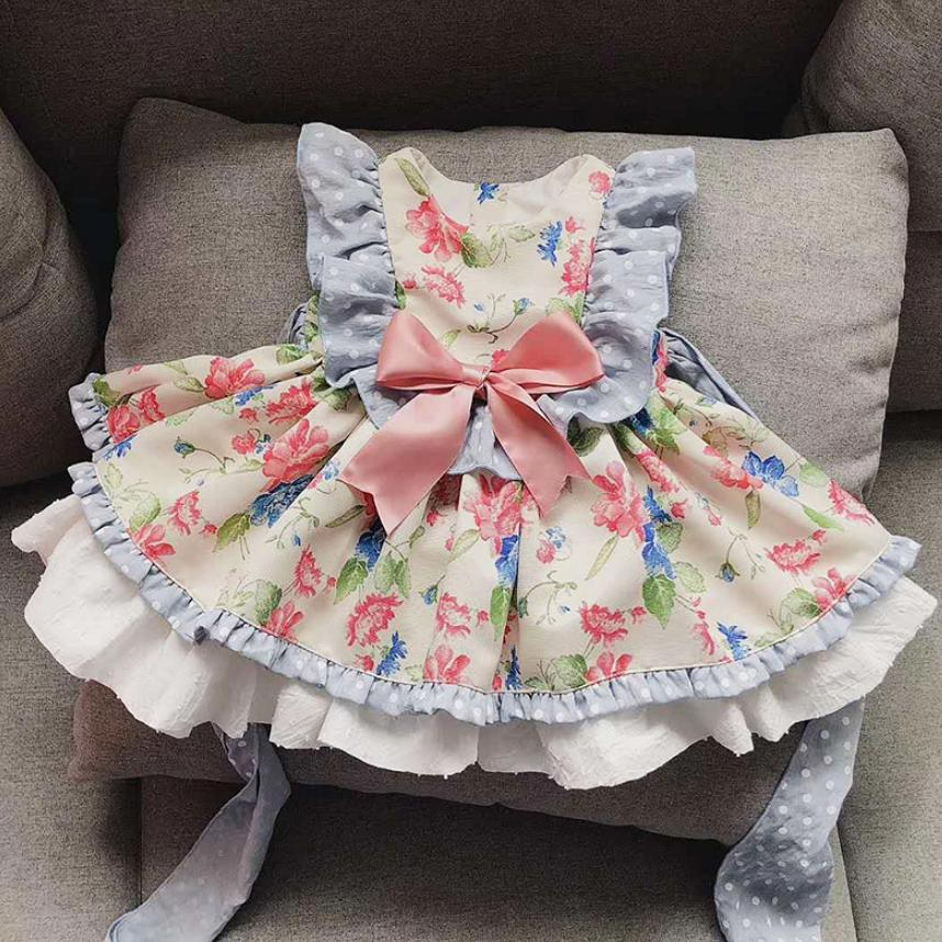Baby Girls Princess Dress Retro Floral Lolita Gown Spanish Boutique Vintage Children Dress Birthday Party Clothes