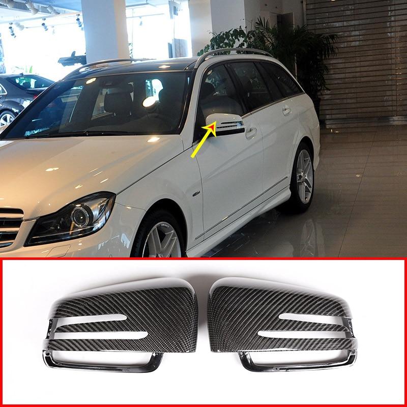 2x Real Carbon For Mercedes Benz A W176 B W246 C W204 E W212 CLA W117 GLA X156 GLK X204 CLS Class W218 Rearview Mirror Cap Cover
