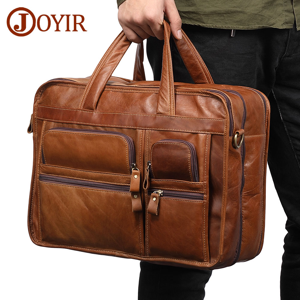 JOYIR Genuine Leather Men Briefcases Laptop Casual Business Tote Bags Shoulder Crossbody Bag Men s Handbags