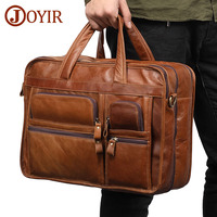 JOYIR Genuine Leather Men Briefcases Laptop Casual Business Tote Bags Shoulder Crossbody Bag Men's Handbags Large Travel Bag