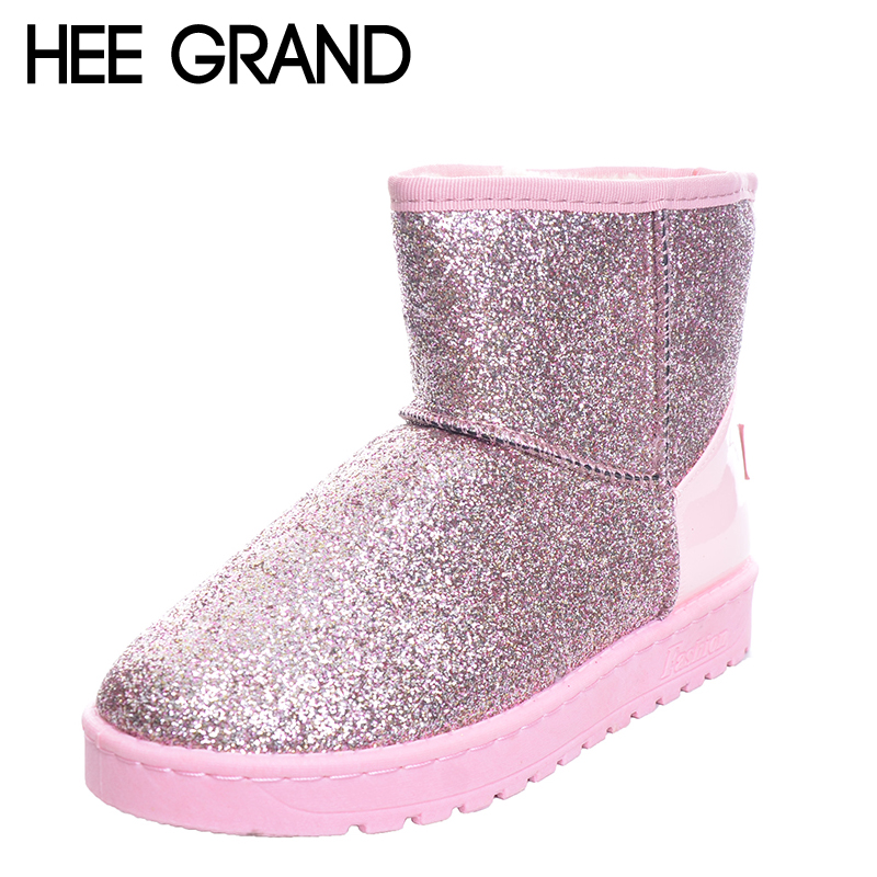 HEE GRAND Bling Glitter Snow Boots Women Thick Fur Warm Flat Platform Cotton Sequined Cloth Ankle Boots Winter Shoes XWX4618 2016 rhinestone sheepskin women snow boots with fur flat platform ankle winter boots ladies australia boots bottine femme botas