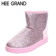 HEE GRAND Bling Glitter Snow Boots Women Thick Fur Warm Flat Platform Cotton Sequined Cloth Ankle Boots Winter Shoes XWX4618